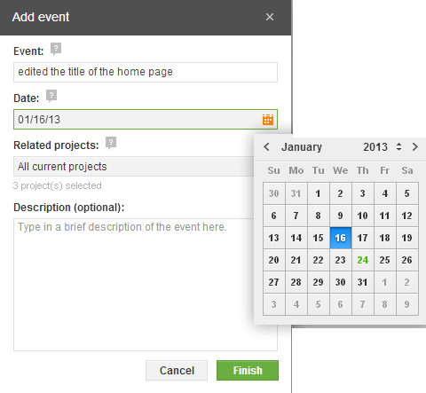 Add Event in Project