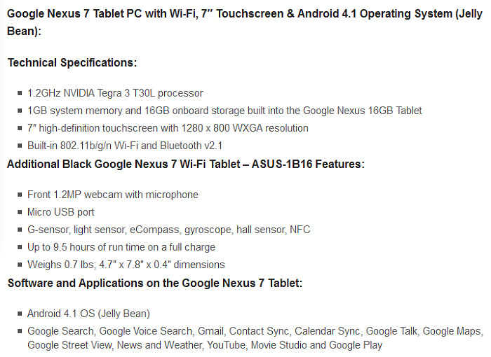 google nexus7 specifications