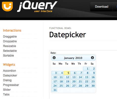 jQuery Datepicker Widget